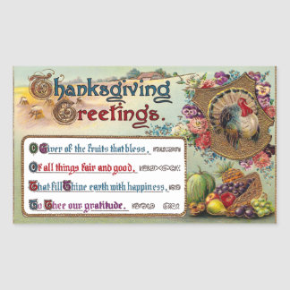Fall Fruits and Turkey Vintage Thanksgiving Rectangle Stickers
