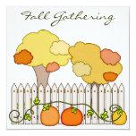 "Fall Gathering Autumn Party Invitation Pumpkins 5.25"" Square Invitation Card"