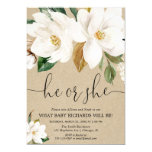 Fall gender reveal, rustic kraft white floral invitation