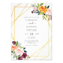 Fall Geometric Floral Autumn Wedding Invitation