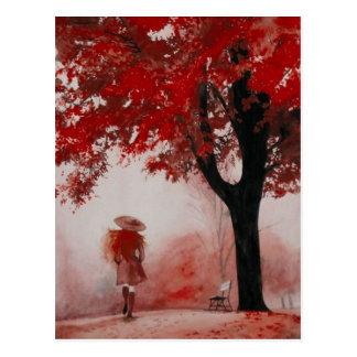fall girl postcard