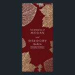 """Fall Gold and Burgundy Leaves Wedding Programs<br><div class=""""desc"""">romantic and elegant gold fall leaves burgundy wedding programs</div>"""
