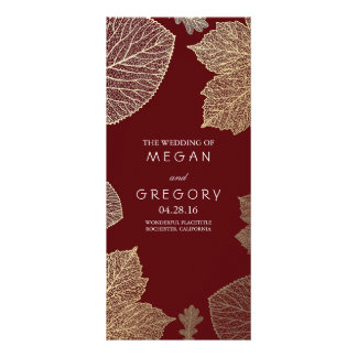 Fall Gold and Burgundy Leaves Wedding Programs