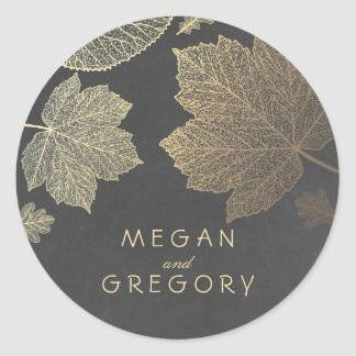 Fall Gold and Chalkboard Leaves Wedding Classic Round Sticker