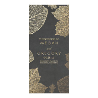 Fall Gold and Chalkboard Leaves Wedding Programs