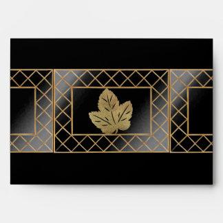 Fall Gold Glitter Leaves Envelope