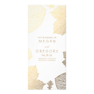 Fall Gold Leaves White Wedding Programs