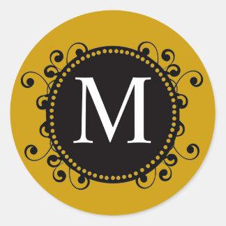 Fall Gold Monogram M Swirls Wedding Sticker