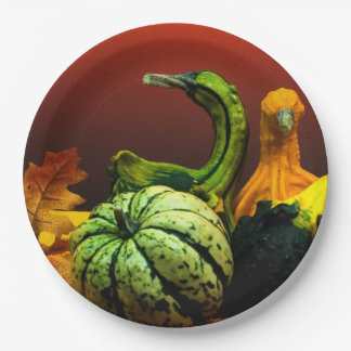 Fall Gourds Rustic Autumn Wedding Colors Paper Plate