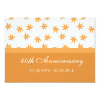 Fall graphic yellow leaves wedding anniversary personalized   announcement