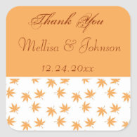 Fall graphic yellow leaves wedding favor sticker   stickers