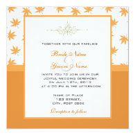 Fall graphic yellow leaves wedding invites personalized   invitations