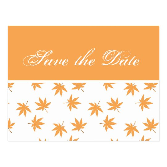 Fall graphic yellow leaves wedding save the date postcard