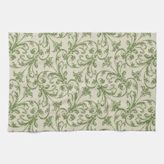 Fall Green Damask pattern kitchen towel