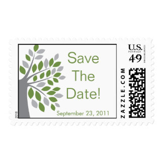 Fall Green Tree Save the Date Wedding Stamp