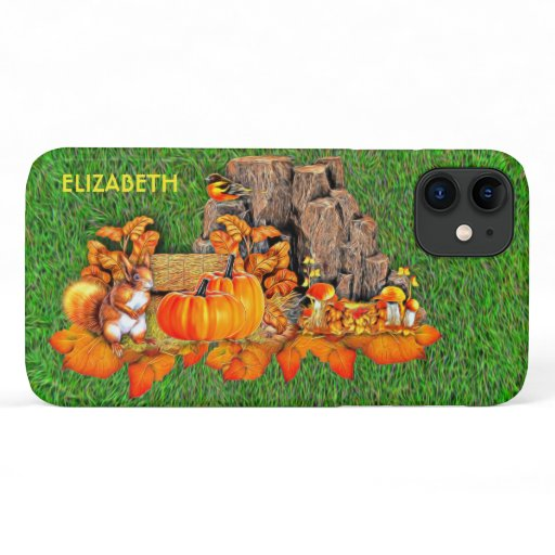 Fall Halloween Forest With Pumpkin Autumn Leaves iPhone 11 Case