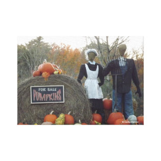 Fall Harvest American Gothic Wrapped Canvas