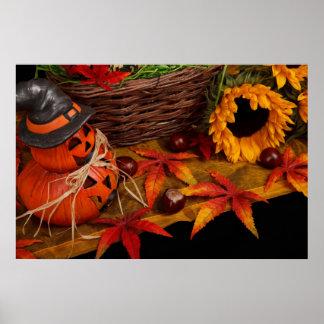 Fall Harvest Autumn Sunflower Pumpkins Poster