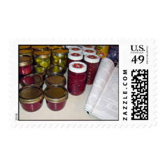 Fall Harvest - canning jams & more Postage Stamp
