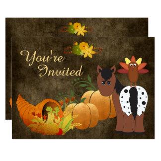 Fall Harvest, Cute Horse, Turkey Birthday Invite