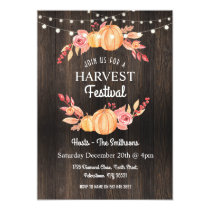Fall Harvest Festival Pumpkin Wood Floral Invite