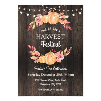 Fall Harvest Festival Pumpkin Wood Floral Invite