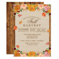 Fall Harvest Floral Autumn Invitation