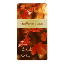 Fall Harvest Leaf Halloween Treats Baking Label Shipping Label