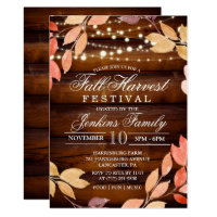 Fall Harvest Leaves Lights Festival Invitation