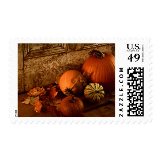 Fall Harvest/ Pumpkins And Gourds At The Door Postage