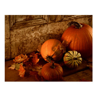 Fall Harvest/ Pumpkins And Gourds At The Door Postcard
