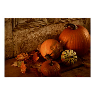 Fall Harvest/ Pumpkins And Gourds At The Door Poster