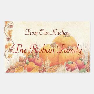 Fall Harvest Pumpkins Homemade From The Kitchen of Rectangular Sticker