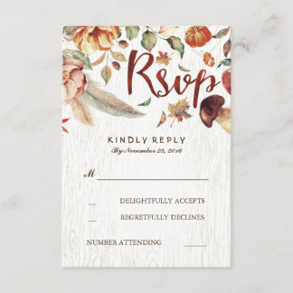Fall Harvest Rustic Wedding Rsvp