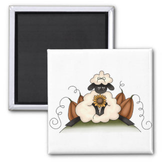 fall harvest sheep 2 inch square magnet