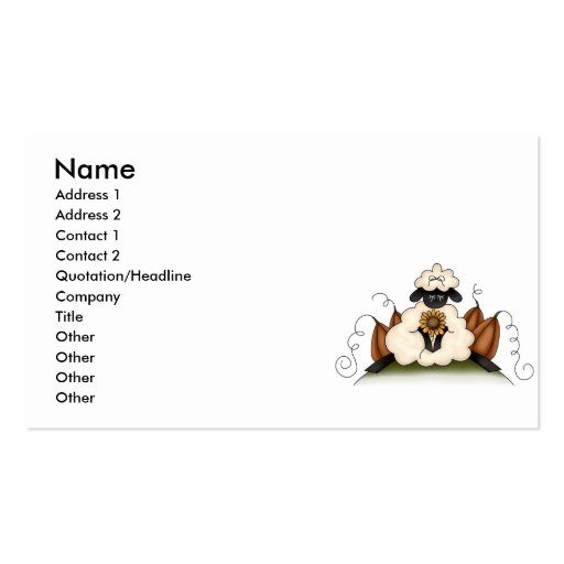 fall harvest sheep business card