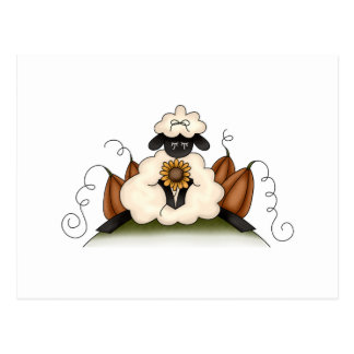 fall harvest sheep postcard