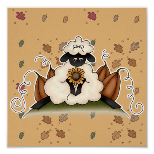 fall harvest sheep poster