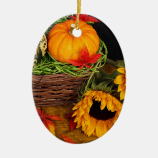 Fall Harvest Sunflowers Ceramic Ornament