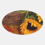 Fall Harvest Sunflowers Oval Sticker