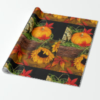 Fall Harvest Sunflowers Wrapping Paper