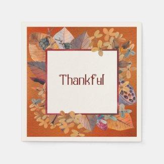 Fall Harvest Thankful Napkin
