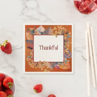 Fall Harvest Thankful Napkin