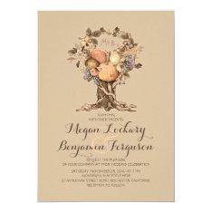 fall harvest tree vintage wedding invitation at Zazzle