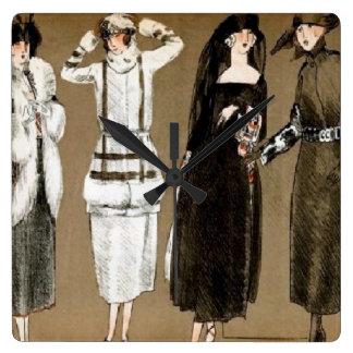 Fall Haute Couture 1920s Illustration Square Wall Clock