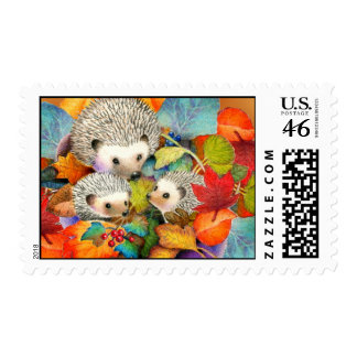 Fall Hedgehogs Postage Stamp