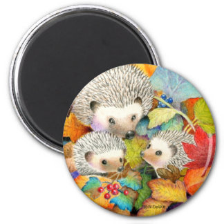 Fall Hedgehogs Round Magnet
