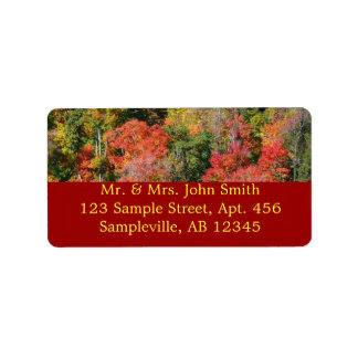Fall Hillside Colorful Autumn Nature Photography Label