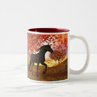 Fall Horse Two-Tone Coffee Mug