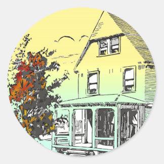 fall house round sticker